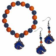 Boise State Broncos Fan Bead Earrings & Bracelet Set