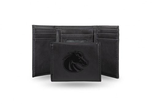 Boise State Broncos Laser Engraved Black Trifold Wallet