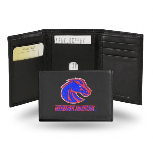 Boise State Broncos NCAA Embroidered Leather Tri-Fold Wallet