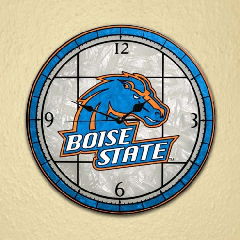 Boise State Broncos NCAA Stained Glass Wall Clock