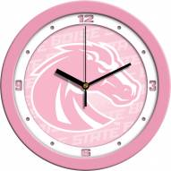 Boise State Broncos Pink Wall Clock