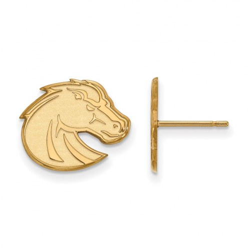 Boise State Broncos Sterling Silver Gold Plated Small Post Earrings