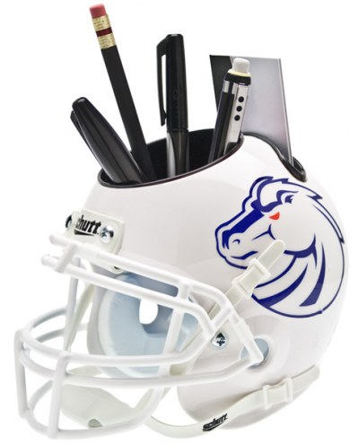Boise State Broncos White Schutt Football Helmet Desk Caddy
