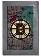 """Boston Bruins 11"""" x 19"""" City Map Framed Sign"""