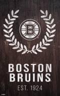 "Boston Bruins 11"" x 19"" Laurel Wreath Sign"