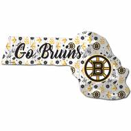 """Boston Bruins 12"""" Floral State Sign"""