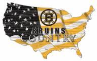 """Boston Bruins  15"""" USA Flag Cutout Sign"""