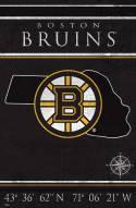 "Boston Bruins  17"" x 26"" Coordinates Sign"