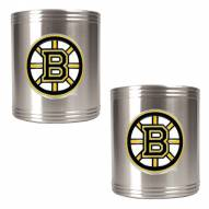 Boston Bruins 2-Piece Stainless Steel Can Koozie Set - Primary Logo