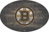 """Boston Bruins 46"""" Distressed Wood Oval Sign"""