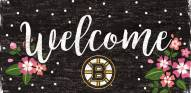 """Boston Bruins 6"""" x 12"""" Floral Welcome Sign"""