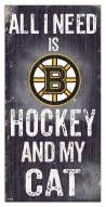 "Boston Bruins  6"" x 12"" Hockey & My Cat Sign"