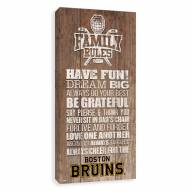 Boston Bruins Family Rules Icon Wood Printed Canvas
