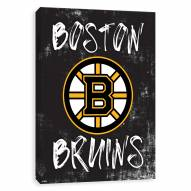 Boston Bruins Grunge Printed Canvas