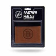Boston Bruins Brown Leather Trifold Wallet