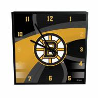 Boston Bruins Carbon Fiber Square Clock