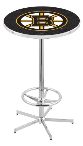 Boston Bruins Chrome Bar Table with Foot Ring