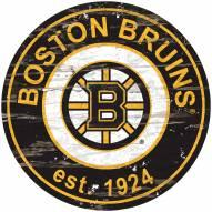 Boston Bruins Distressed Round Sign