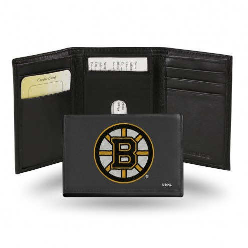 Boston Bruins Embroidered Leather Tri-Fold Wallet