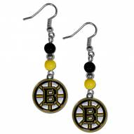 Boston Bruins Fan Bead Dangle Earrings