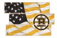 Boston Bruins  Flag 3 Plank Sign