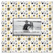 """Boston Bruins  Floral Pattern 10"""" x 10"""" Picture Frame"""