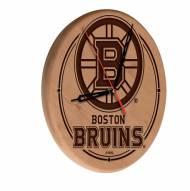 Boston Bruins Laser Engraved Wood Clock