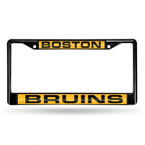 Boston Bruins Laser Black License Plate Frame