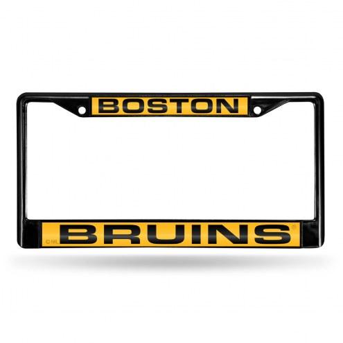 Boston Bruins Laser Black License Plate Frame