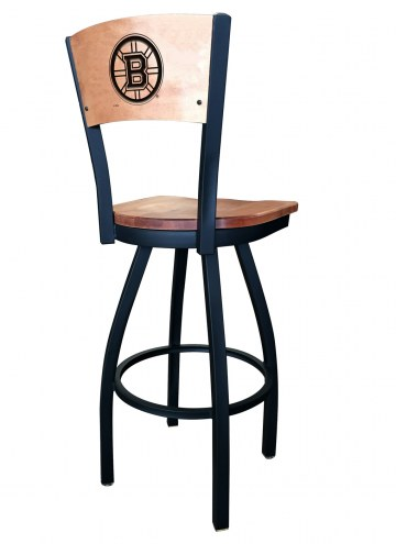 Boston Bruins Laser Engraved Logo Swivel Bar Stool