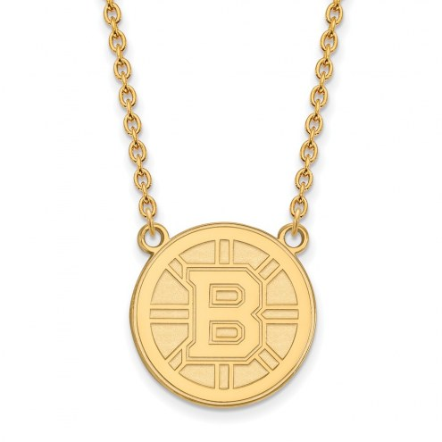 Boston Bruins NHL Sterling Silver Gold Plated Large Pendant Necklace