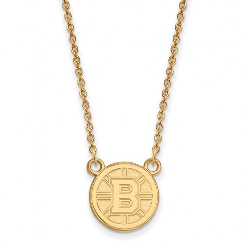 Boston Bruins NHL Sterling Silver Gold Plated Small Pendant Necklace