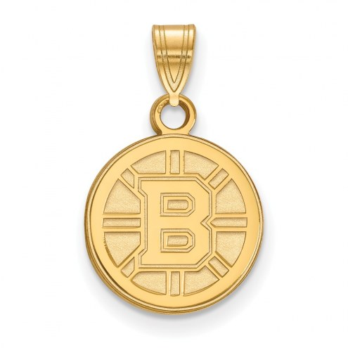 Boston Bruins NHL Sterling Silver Gold Plated Small Pendant