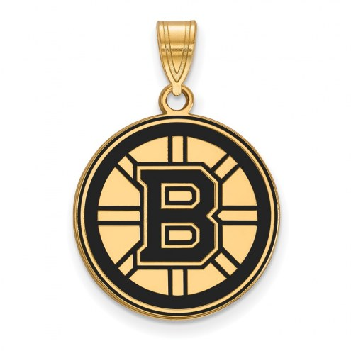 Boston Bruins Sterling Silver Gold Plated Large Enameled Pendant
