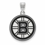 Boston Bruins Sterling Silver Large Enameled Pendant