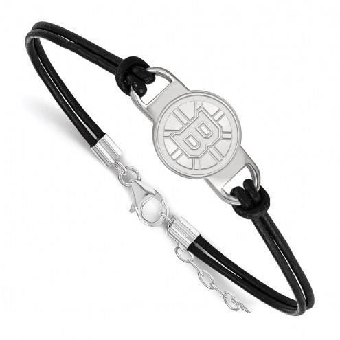 Boston Bruins Sterling Silver Black Leather Bracelet