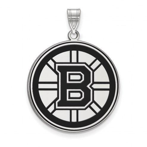 Boston Bruins Sterling Silver Extra Large Enameled Pendant