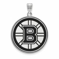 Boston Bruins Sterling Silver Extra Large Enameled Pendant