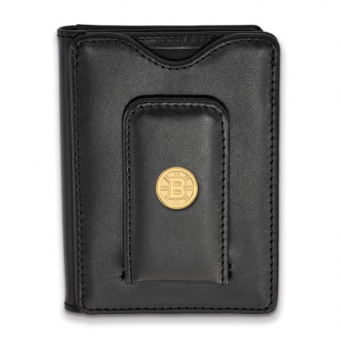 Boston Bruins Sterling Silver Gold Plated Black Leather Wallet
