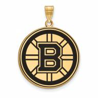 Boston Bruins Sterling Silver Gold Plated Extra Large Enameled Pendant