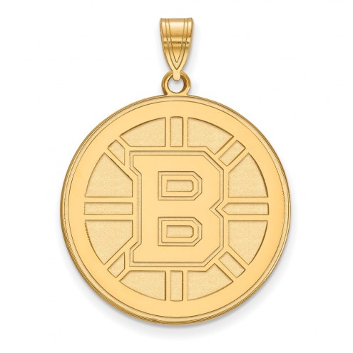 Boston Bruins Sterling Silver Gold Plated Extra Large Pendant