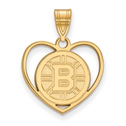 Boston Bruins Sterling Silver Gold Plated Heart Pendant