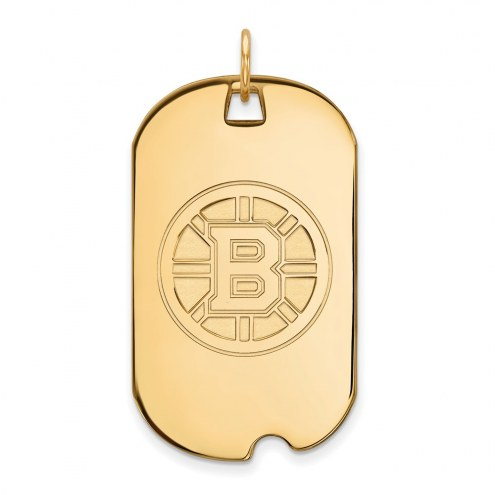 Boston Bruins Sterling Silver Gold Plated Large Dog Tag