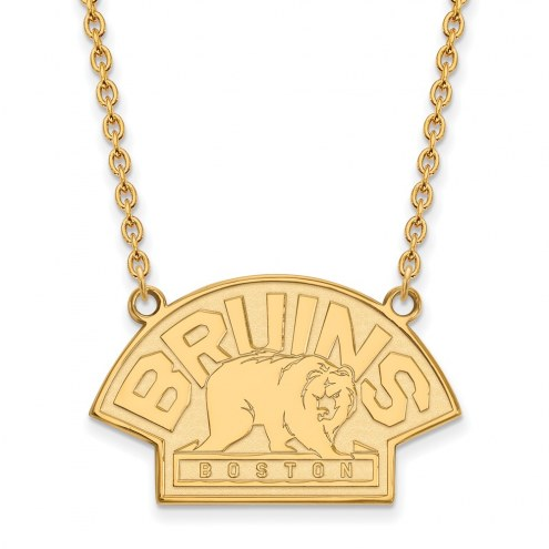 Boston Bruins Sterling Silver Gold Plated Large Pendant Necklace