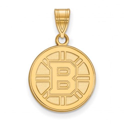 Boston Bruins Sterling Silver Gold Plated Medium Pendant