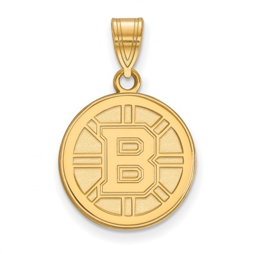 Boston Bruins Sterling Silver Gold Plated Medium Pendant