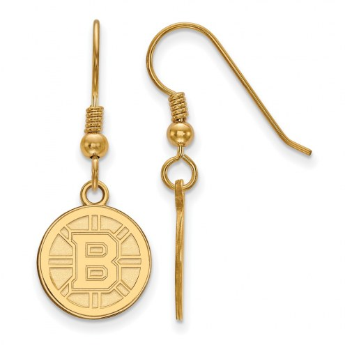 Boston Bruins Sterling Silver Gold Plated Small Dangle Earrings
