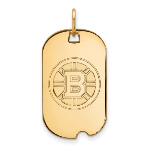 Boston Bruins Sterling Silver Gold Plated Small Dog Tag