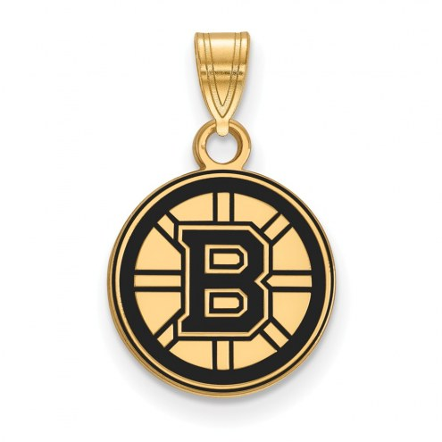 Boston Bruins Sterling Silver Gold Plated Small Enameled Pendant