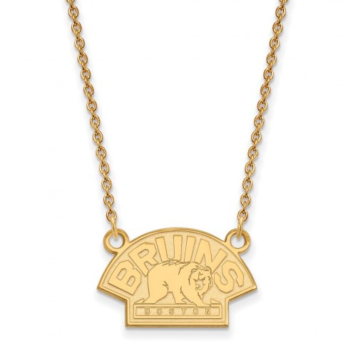 Boston Bruins Sterling Silver Gold Plated Small Pendant Necklace